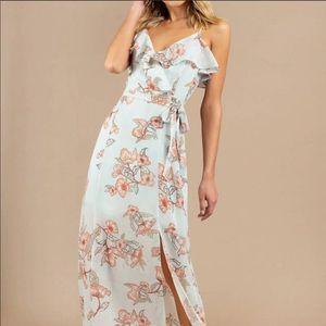 J.O.A Mist Floral Ruffled Maxi Dress Sz M NWT